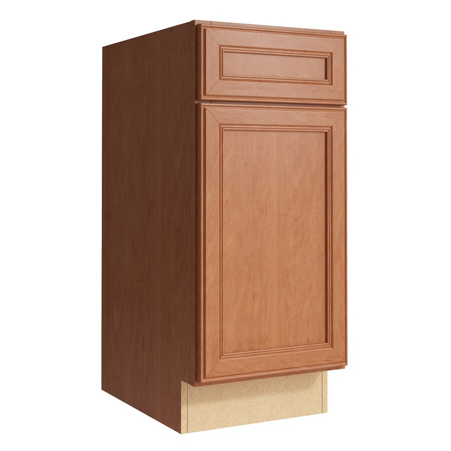 KraftMaid Momentum Hazelnut Bellamy 1-Door Left-Hinged Base Cabinet (Common: 15-in x 21-in x 34.5-in; Actual: 15-in x 21-in x 34.5-in)