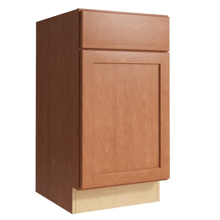 KraftMaid Momentum Hazelnut Paxton 1-Door Left-Hinged Base Cabinet (Common: 18-in x 21-in x 34.5-in; Actual: 18-in x 21-in x 34.5-in)