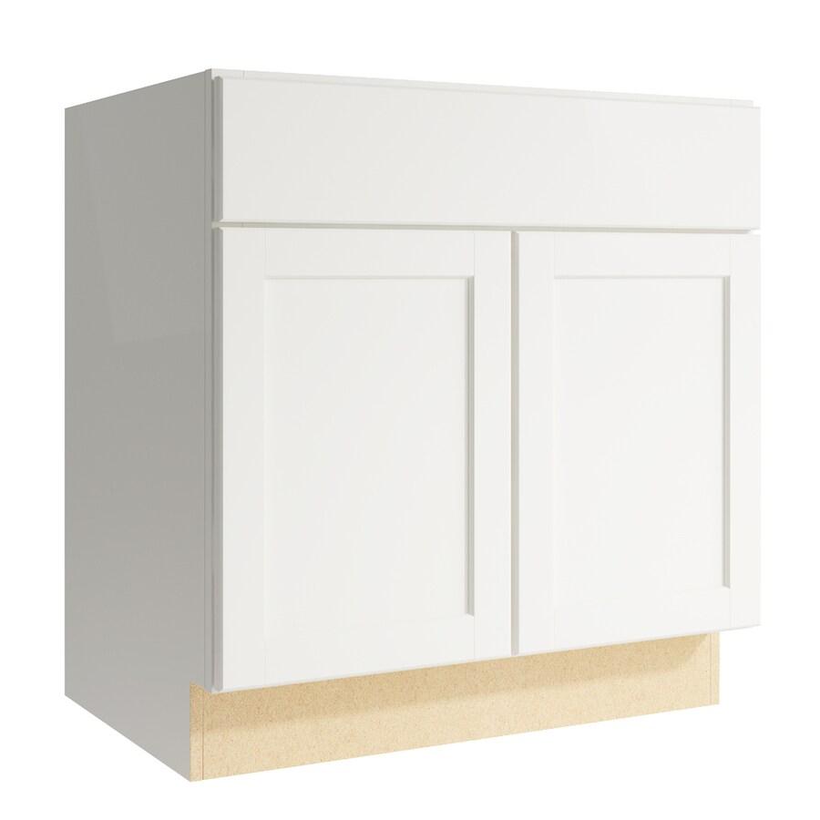 KraftMaid Momentum Cotton Paxton 2-Door Base Cabinet (Common: 30-in x 21-in x 31.5-in; Actual: 30-in x 21-in x 31.5-in)