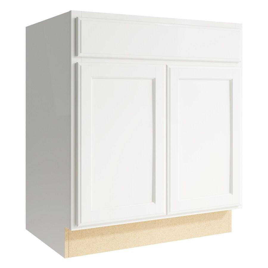 KraftMaid Momentum Cotton Kingston 2-Door Base Cabinet (Common: 30-in x 21-in x 34.5-in; Actual: 30-in x 21-in x 34.5-in)