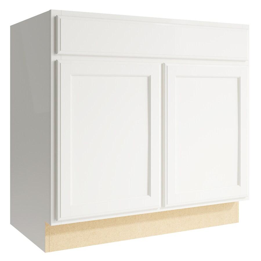 KraftMaid Momentum Cotton Kingston 2-Door Base Cabinet (Common: 36-in x 21-in x 34.5-in; Actual: 36-in x 21-in x 34.5-in)