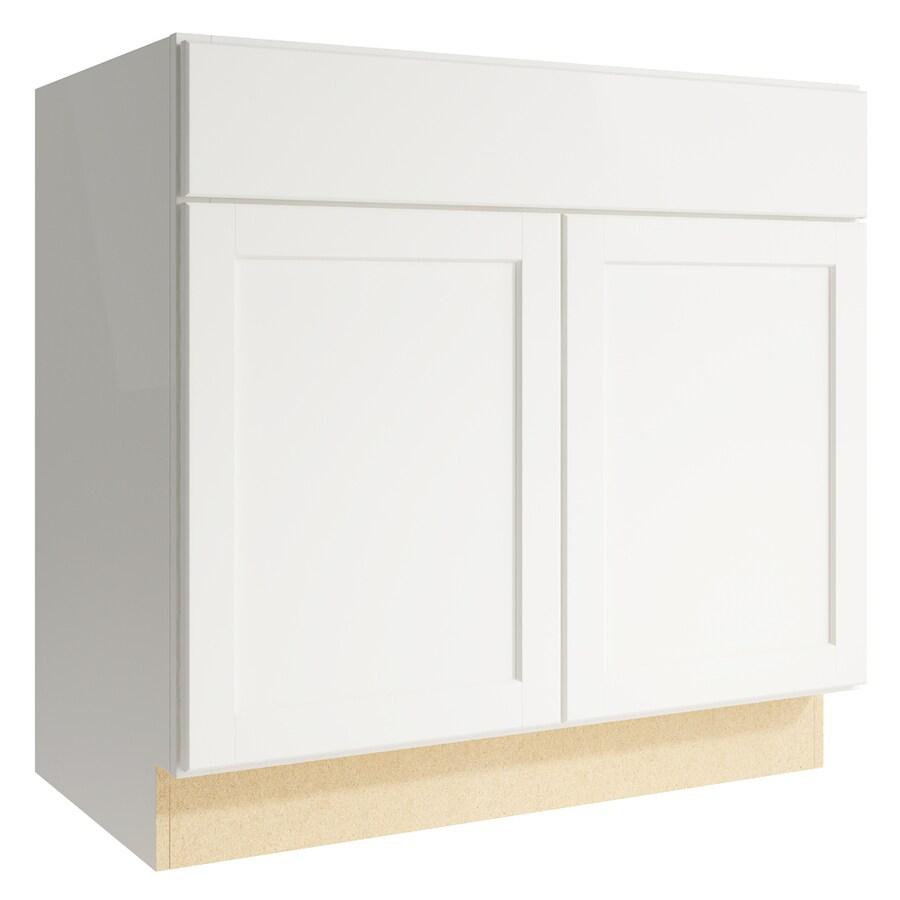 KraftMaid Momentum Cotton Paxton 2-Door Base Cabinet (Common: 36-in x 21-in x 34.5-in; Actual: 36-in x 21-in x 34.5-in)