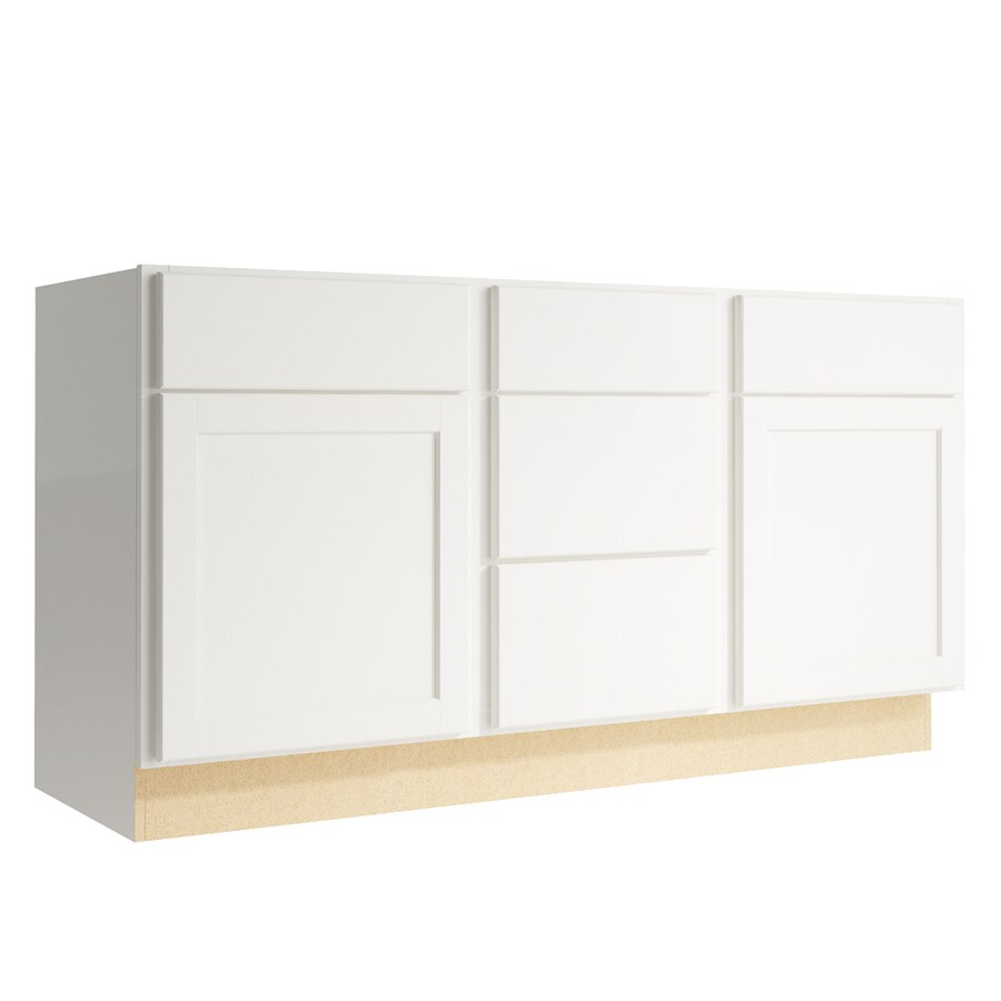 KraftMaid Momentum Cotton Paxton 2-Door 3-Drawer Middle Sink Base (Common: 60-in x 21-in x 31.5-in; Actual: 60-in x 21-in x 31.5-in)