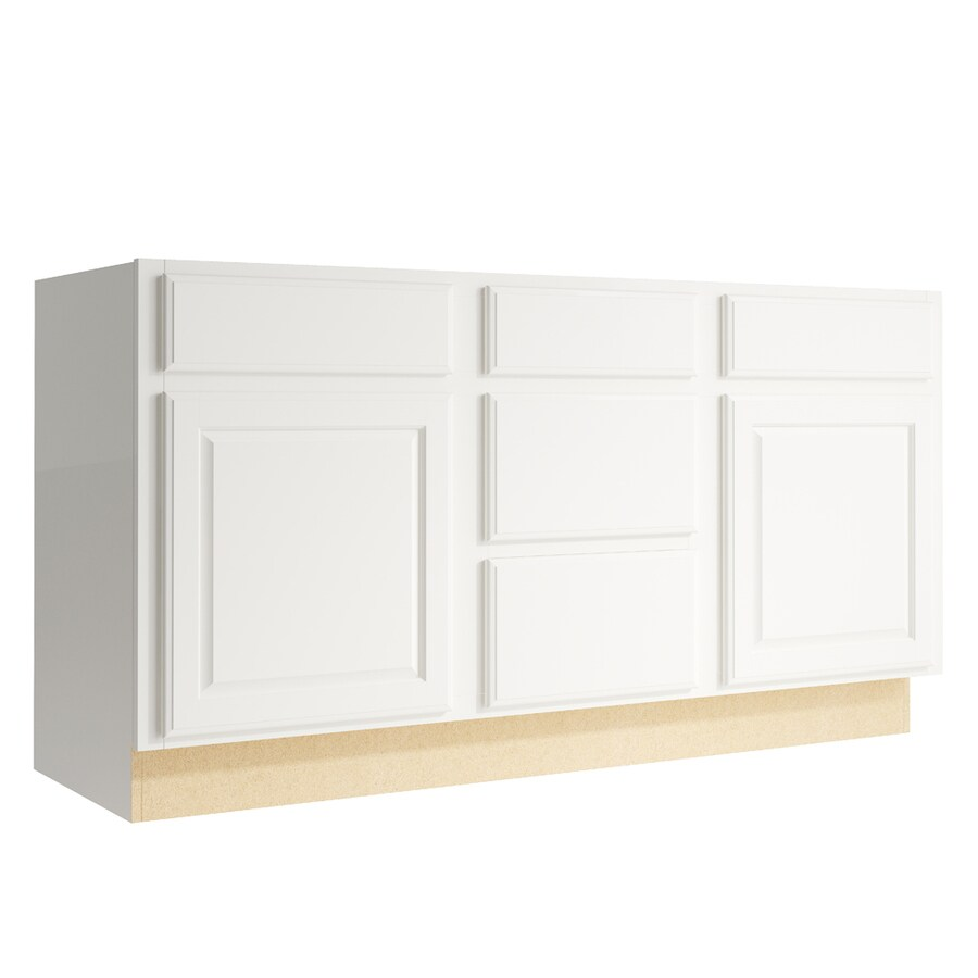 KraftMaid Momentum Cotton Settler 2-Door 3-Drawer Middle Sink Base (Common: 60-in x 21-in x 31.5-in; Actual: 60-in x 21-in x 31.5-in)