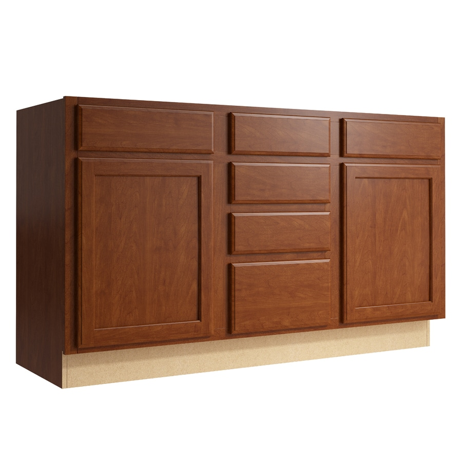 KraftMaid Momentum Sable Kingston 2-Door 4-Drawer Middle Sink Base (Common: 60-in x 21-in x 34.5-in; Actual: 60-in x 21-in x 34.5-in)