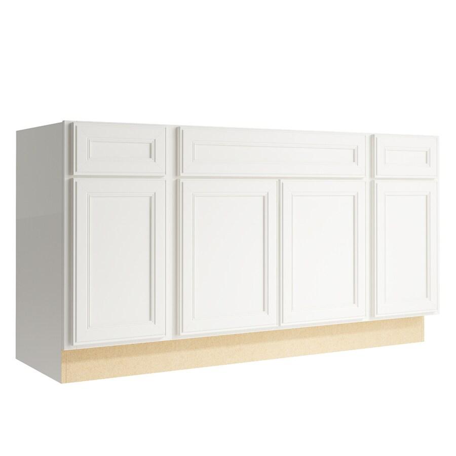 KraftMaid Momentum Cotton Bellamy 4-Door 2-Drawer Sink Base (Common: 60-in x 21-in x 31.5-in; Actual: 60-in x 21-in x 31.5-in)