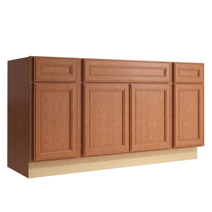 KraftMaid Momentum Hazelnut Bellamy 4-Door 2-Drawer Sink Base (Common: 60-in x 21-in x 31.5-in; Actual: 60-in x 21-in x 31.5-in)