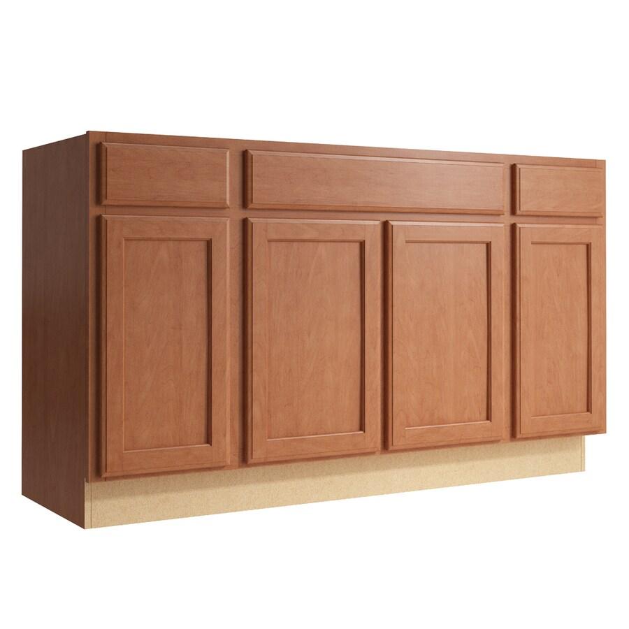 KraftMaid Momentum Hazelnut Kingston 4-Door 2-Drawer Sink Base (Common: 60-in x 21-in x 34.5-in; Actual: 60-in x 21-in x 34.5-in)