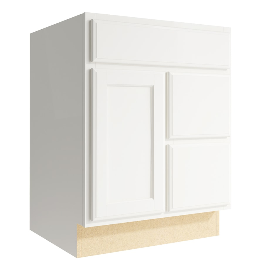 KraftMaid Momentum Cotton Kingston 1-Door 2-Drawer Right Base Cabinet (Common: 24-in x 21-in x 31.5-in; Actual: 24-in x 21-in x 31.5-in)