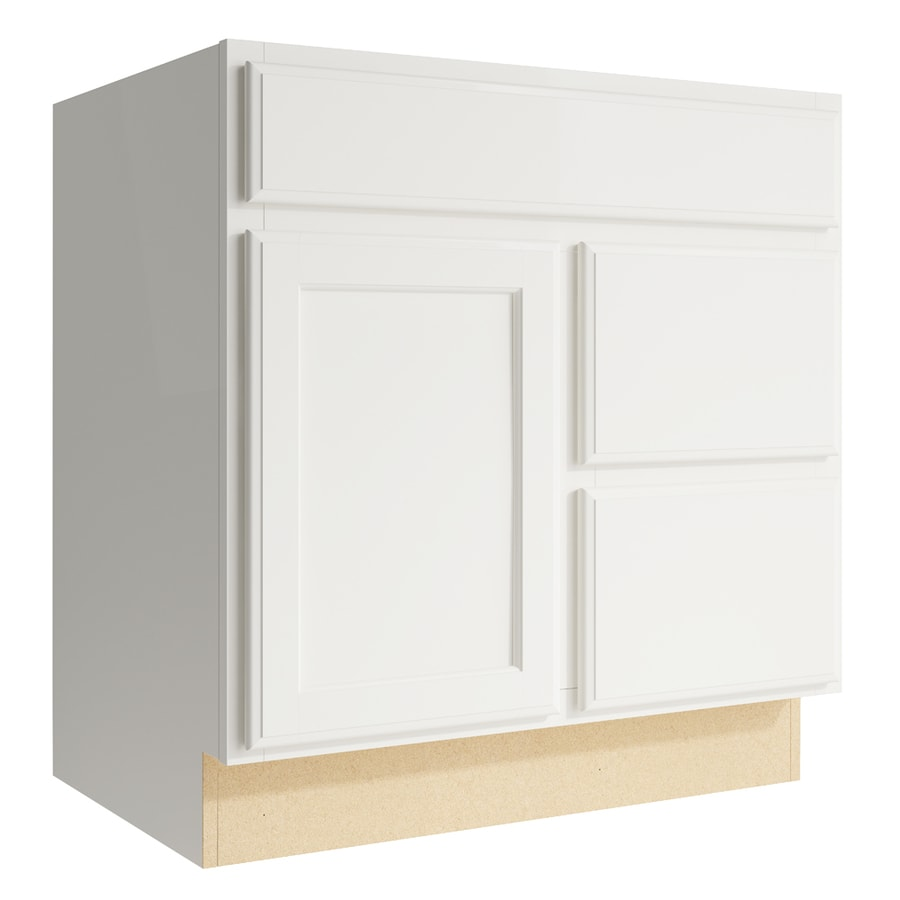 KraftMaid Momentum Cotton Kingston 1-Door 2-Drawer Right Base Cabinet (Common: 30-in x 21-in x 31.5-in; Actual: 30-in x 21-in x 31.5-in)