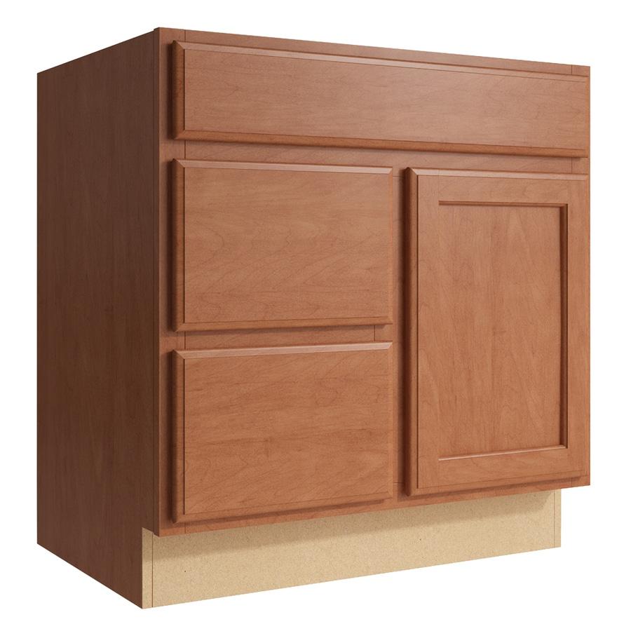 KraftMaid Momentum Hazelnut Kingston 1-Door 2-Drawer Left Base Cabinet (Common: 30-in x 21-in x 31.5-in; Actual: 30-in x 21-in x 31.5-in)