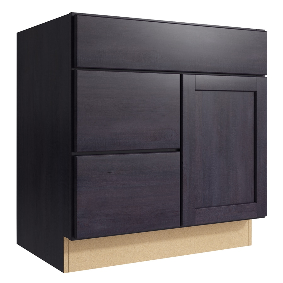 KraftMaid Momentum Dusk Paxton 1-Door 2-Drawer Left Base Cabinet (Common: 30-in x 21-in x 31.5-in; Actual: 30-in x 21-in x 31.5-in)