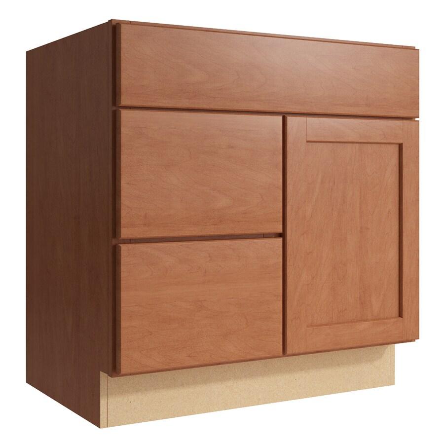 KraftMaid Momentum Hazelnut Paxton 1-Door 2-Drawer Left Base Cabinet (Common: 30-in x 21-in x 31.5-in; Actual: 30-in x 21-in x 31.5-in)