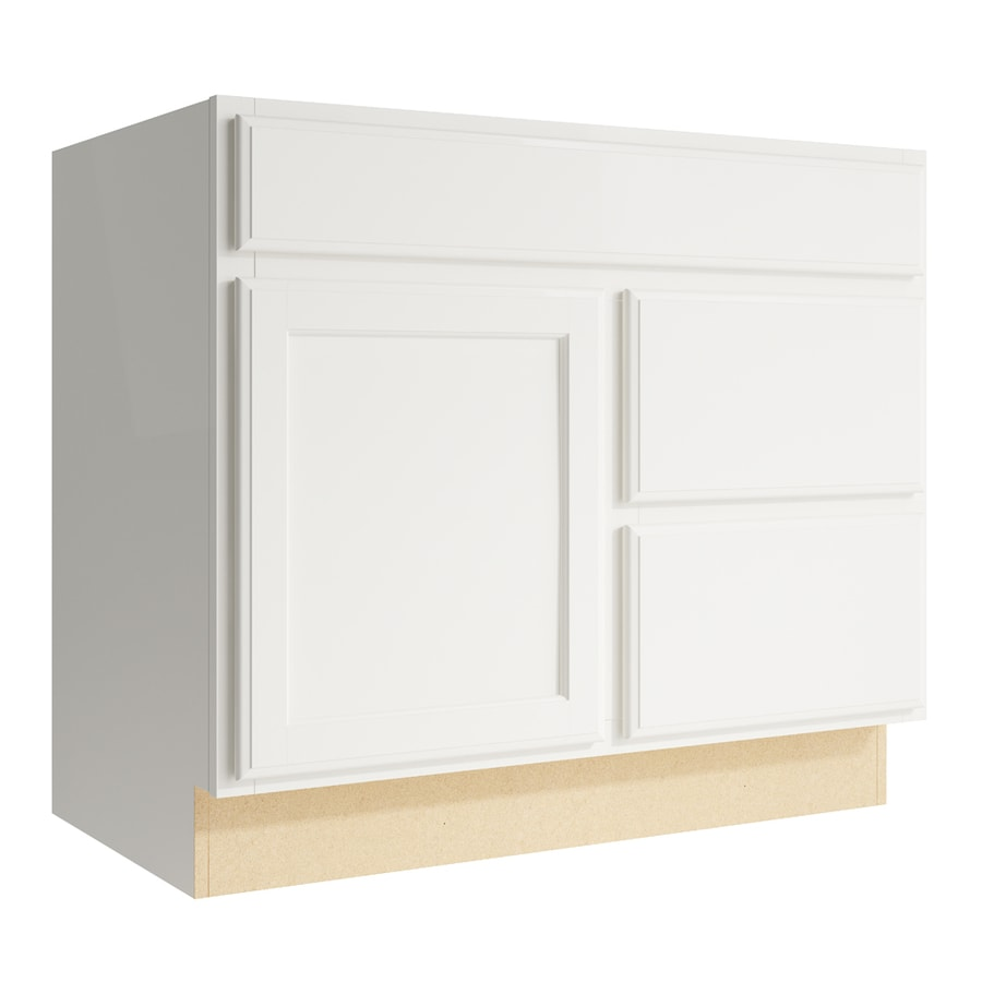 KraftMaid Momentum Cotton Kingston 1-Door 2-Drawer Right Base Cabinet (Common: 36-in x 21-in x 31.5-in; Actual: 36-in x 21-in x 31.5-in)