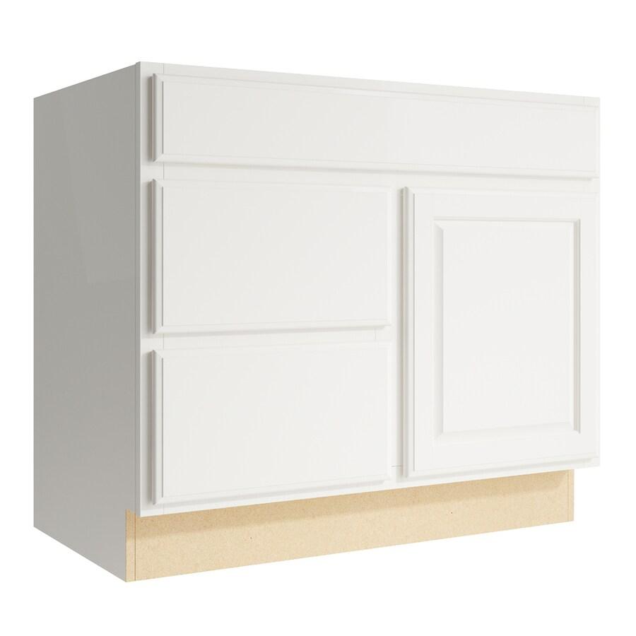 KraftMaid Momentum Cotton Settler 1-Door 2-Drawer Left Base Cabinet (Common: 36-in x 21-in x 31.5-in; Actual: 36-in x 21-in x 31.5-in)