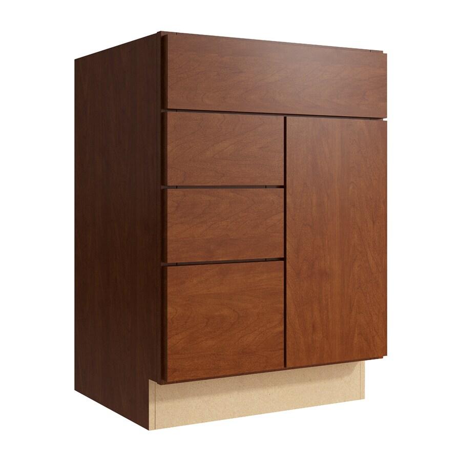 KraftMaid Momentum Sable Frontier 1-Door 3-Drawer Left Base Cabinet (Common: 24-in x 21-in x 34.5-in; Actual: 24-in x 21-in x 34.5-in)