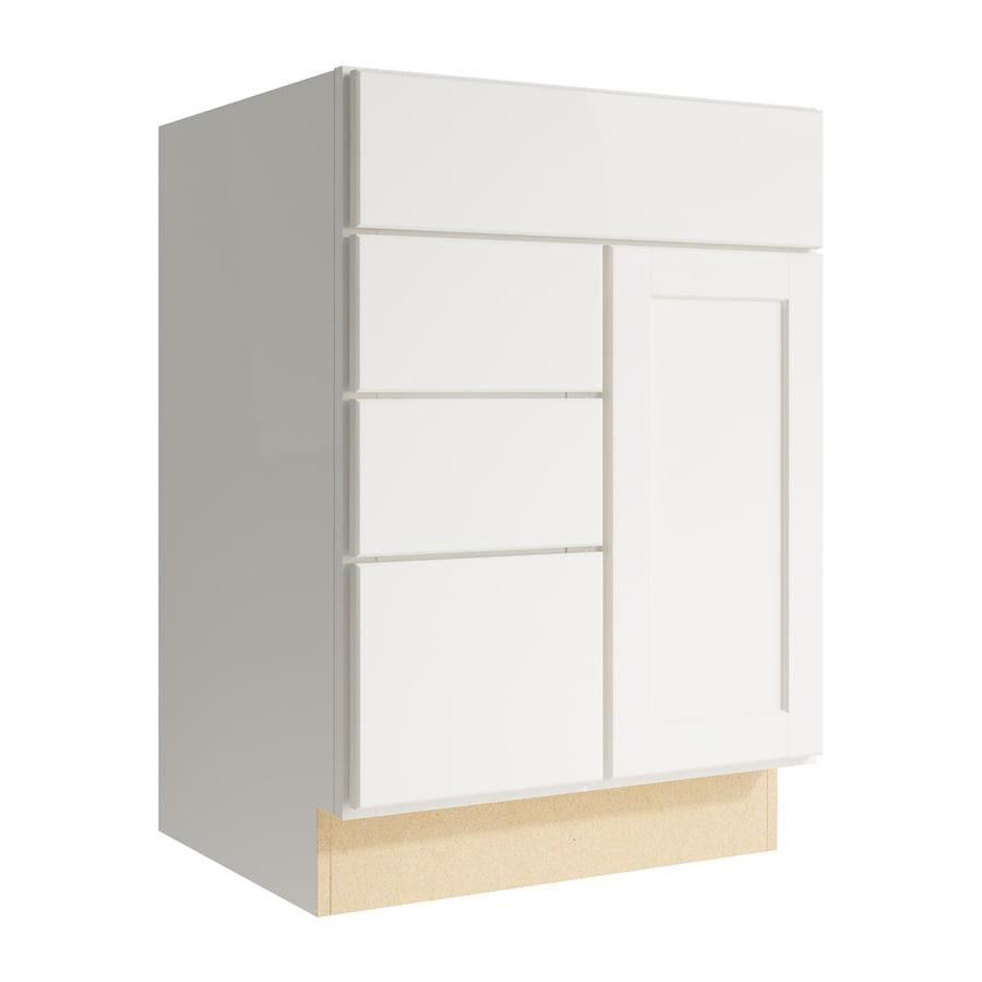 KraftMaid Momentum Cotton Paxton 1-Door 3-Drawer Left Base Cabinet (Common: 24-in x 21-in x 34.5-in; Actual: 24-in x 21-in x 34.5-in)