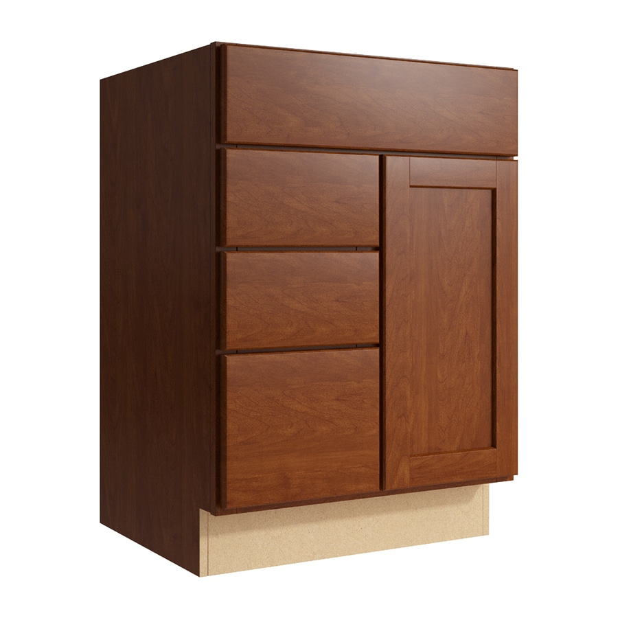 KraftMaid Momentum Sable Paxton 1-Door 3-Drawer Left Base Cabinet (Common: 24-in x 21-in x 34.5-in; Actual: 24-in x 21-in x 34.5-in)