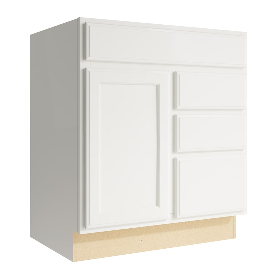 KraftMaid Momentum Cotton Kingston 1-Door 3-Drawer Right Base Cabinet (Common: 30-in x 21-in x 34.5-in; Actual: 30-in x 21-in x 34.5-in)
