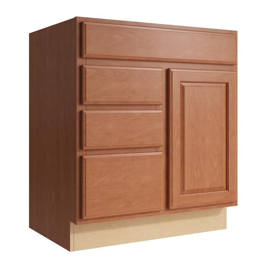 KraftMaid Momentum Hazelnut Settler 1-Door 3-Drawer Left Base Cabinet (Common: 30-in x 21-in x 34.5-in; Actual: 30-in x 21-in x 34.5-in)