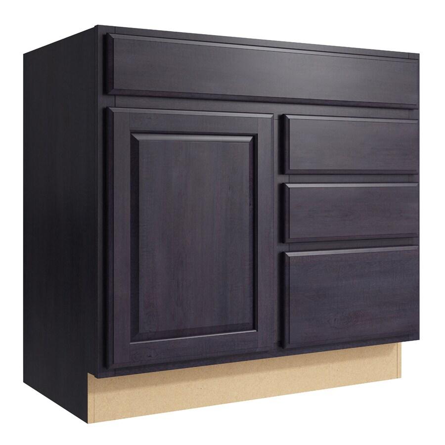 KraftMaid Momentum Dusk Settler 1-Door 3-Drawer Right Base Cabinet (Common: 36-in x 21-in x 34.5-in; Actual: 36-in x 21-in x 34.5-in)