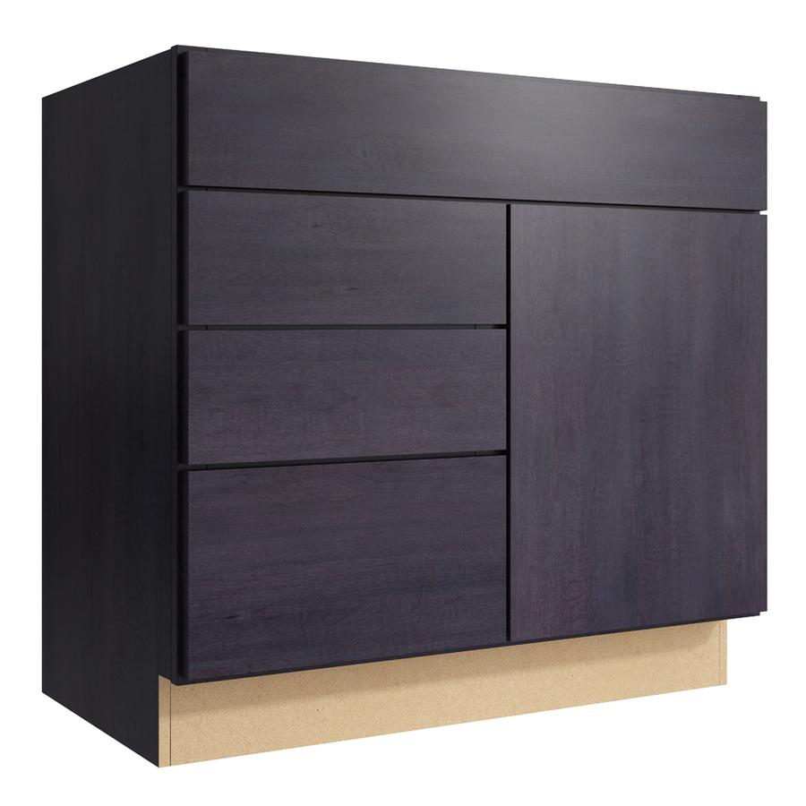 KraftMaid Momentum Dusk Frontier 1-Door 3-Drawer Left Base Cabinet (Common: 36-in x 21-in x 34.5-in; Actual: 36-in x 21-in x 34.5-in)