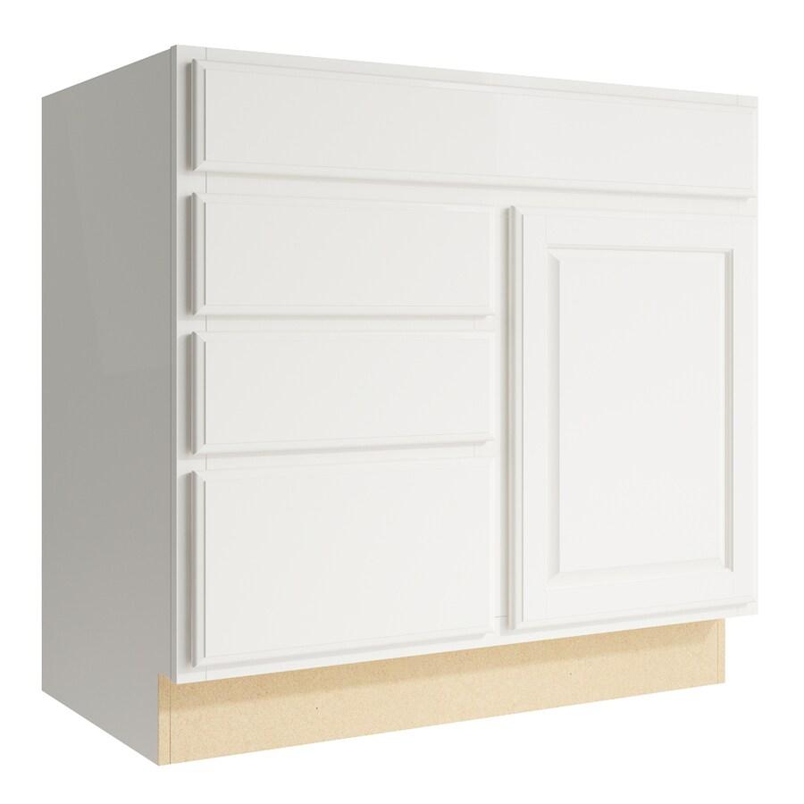 KraftMaid Momentum Cotton Settler 1-Door 3-Drawer Left Base Cabinet (Common: 36-in x 21-in x 34.5-in; Actual: 36-in x 21-in x 34.5-in)