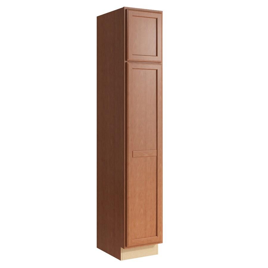 KraftMaid Momentum Hazelnut Kingston 2-Door Left-Hinged Linen Cabinet (Common 15-in x 21-in x 84-in; Actual 15-in x 21-in x 84-in)