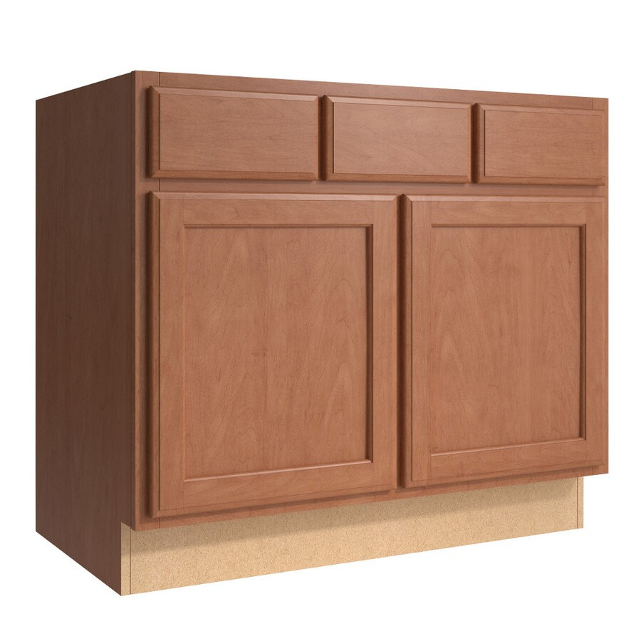 KraftMaid Momentum Hazelnut Kingston 2-Door 2-Drawer Base Cabinet (Common 36-in x 21-in x 31.5-in; Actual 36-in x 21-in x 31.5-in)
