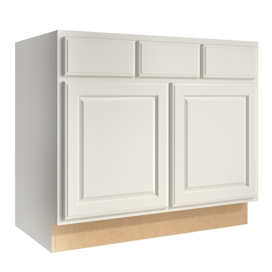 KraftMaid Momentum Cotton (Cabinetry) Settler 2-Door 2-Drawer Base Cabinet (Common 36-in x 21-in x 31.5-in; Actual 36-in x 21-in x 31.5-in)