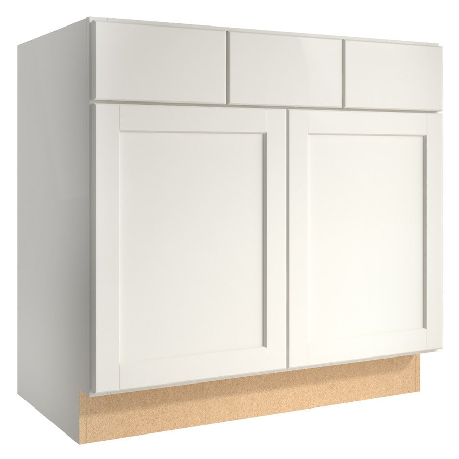 KraftMaid Momentum Cotton Paxton 2-Door 2-Drawer Base Cabinet (Common 36-in x 21-in x 34.5-in; Actual 36-in x 21-in x 34.5-in)