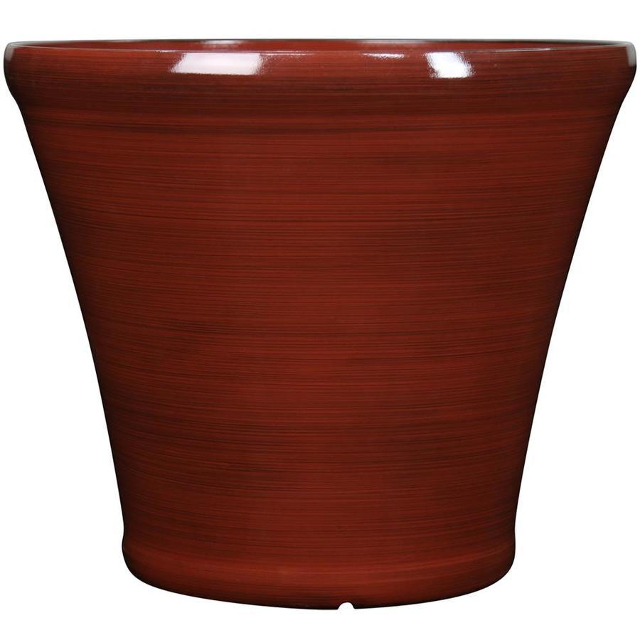 Garden Treasures 20.4-in x 18.54-in Red Plastic Planter