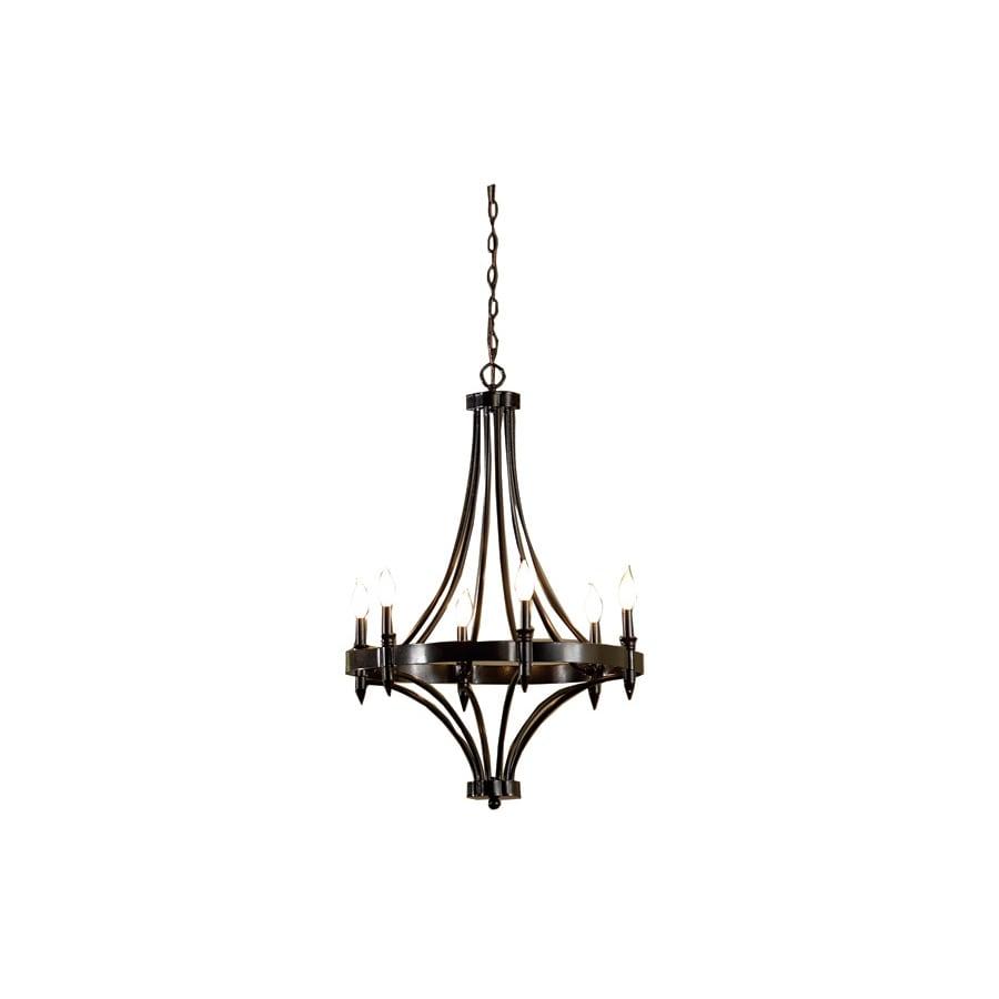 allen + roth 24-in 6-Light Distressed Iron Rustic Standard Chandelier
