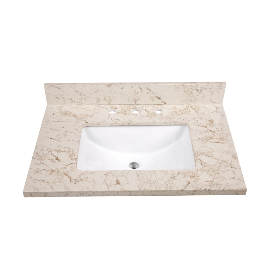 Shop allen roth marbled beige quartz undermount single for Bathroom quartz vanity tops