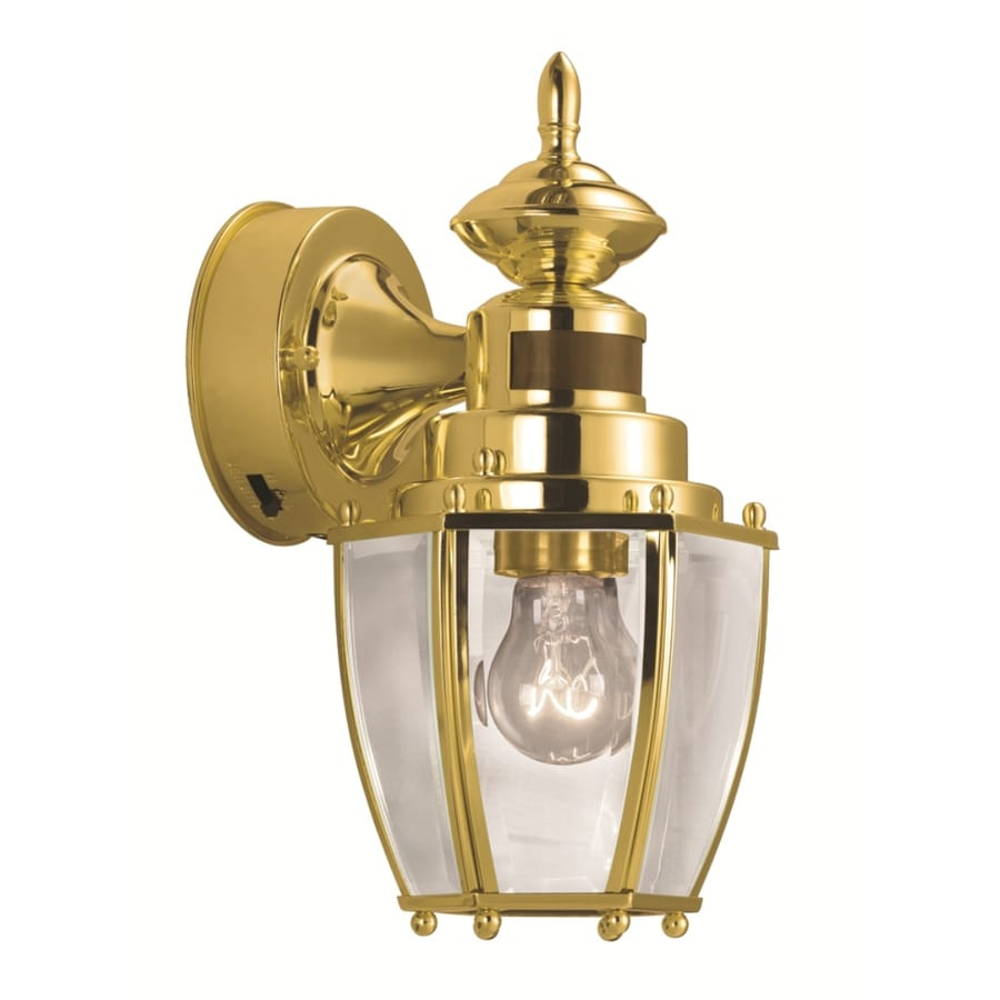 Shop Portfolio 11.75-in H Polished Brass Motion Activated Outdoor Wall Light at Lowes.com