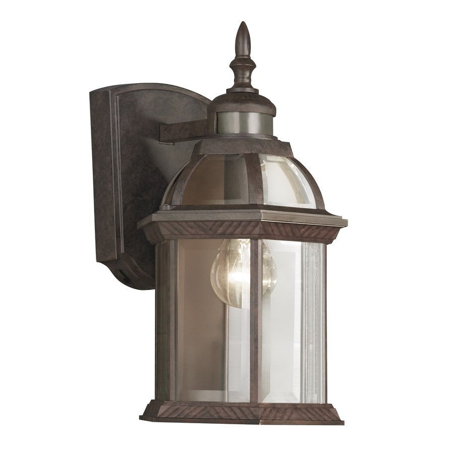 Shop Portfolio 14.5-in H Bronze Motion Activated Outdoor Wall Light at Lowes.com