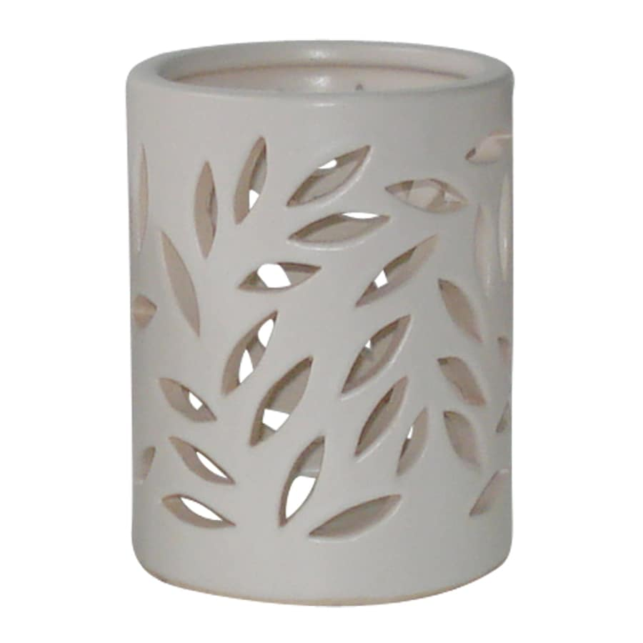 allen + roth 3.94-in x 5.12-in White Glazed Ceramic Pillar Candle Outdoor Decorative Lantern