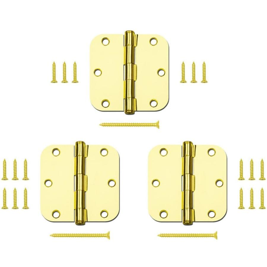 Gatehouse 3-Pack 3.5-in H Polished Brass 5/8-in Radius Interior Mortise Door Hinge