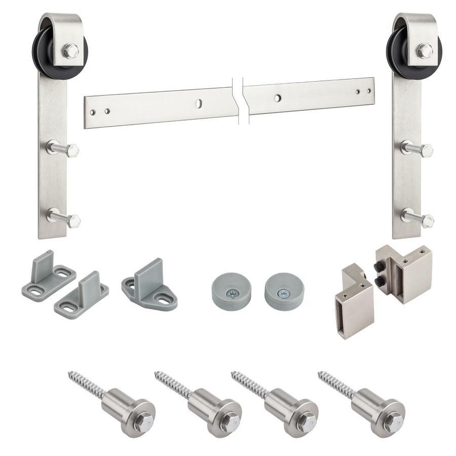 Shop stanley national hardware 72 in satin nickel steel for Top mount barn door hardware