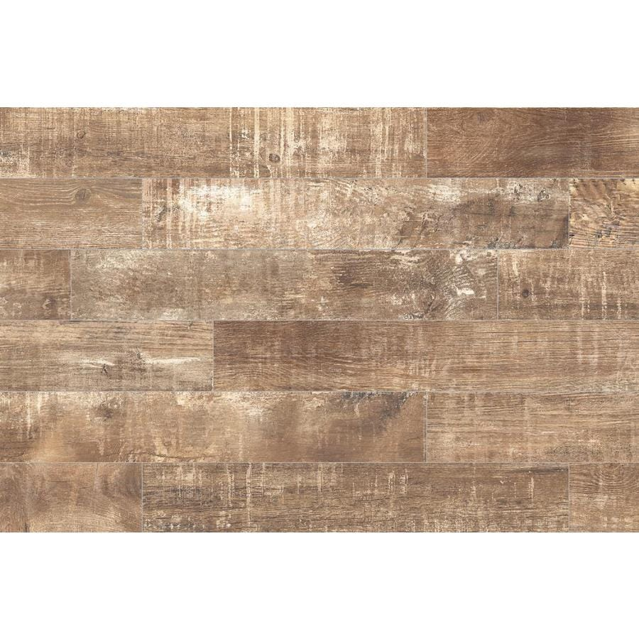 Shop Style Selections Sequoia Ballpark Wood Look Porcelain Floor and Wall Tile (Common: 6-in x ...