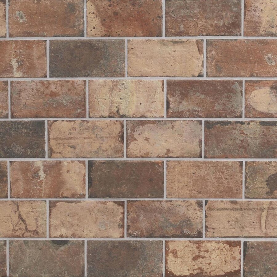 Style Selections Broadmeadow Brick Broadmeadow Brick Porcelain Floor and Wall Tile (Common: 4-in x 8-in; Actual: 7.92-in x 3.92-in)