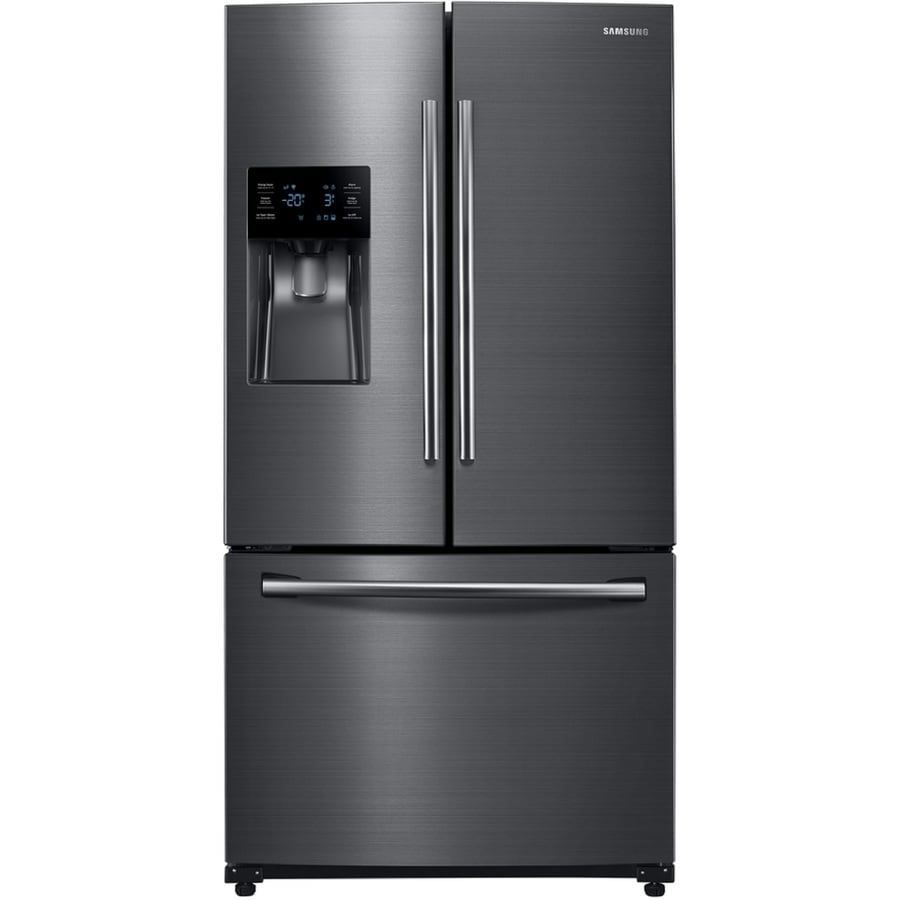 Samsung 24.6-cu ft French Door Refrigerator with Single Ice Maker (Black Stainless) ENERGY STAR