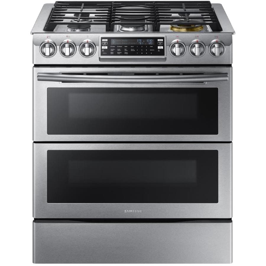 Samsung Slide-In with Wi-Fi 30-in 5-Burner 3.4-cu ft/2.3-cu ft Double Oven Convection Gas Range (Stainless Steel)