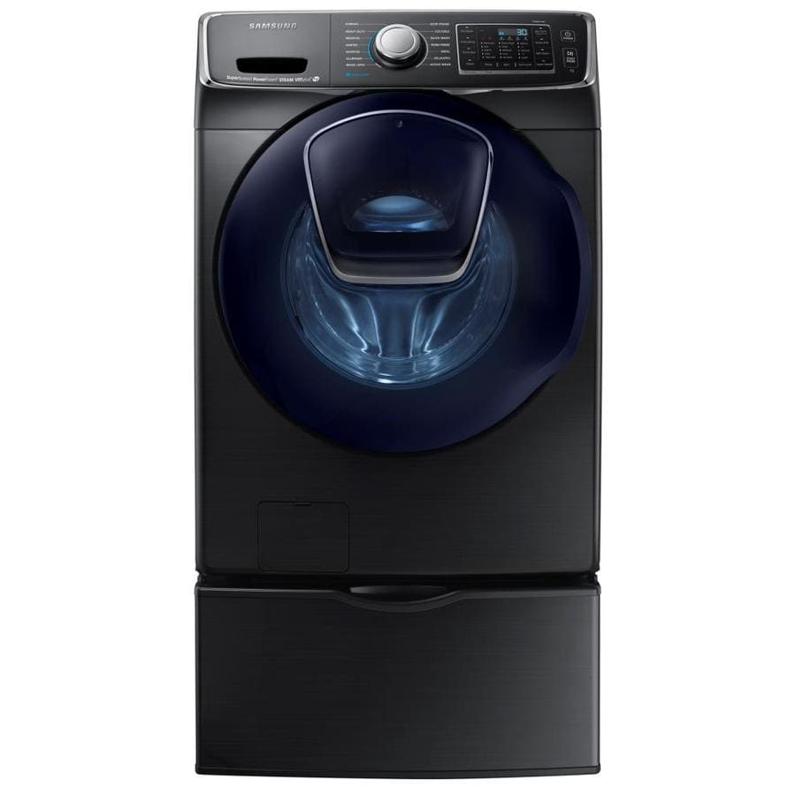 Samsung AddWash 5-cu ft High-Efficiency Stackable Front-Load Washer with Steam Cycle (Black Stainless Steel) ENERGY STAR