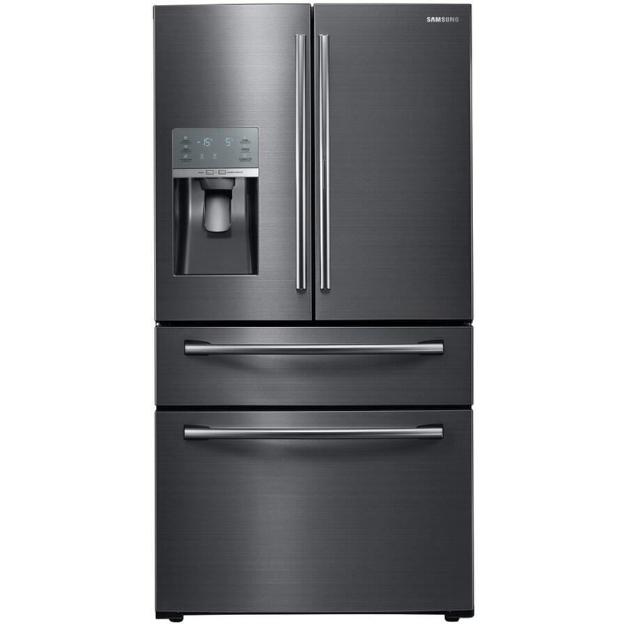 Samsung Food ShowCase 27.8-cu ft 4-Door French Door Refrigerator with Single Ice Maker Door Within Door (Black Stainless)