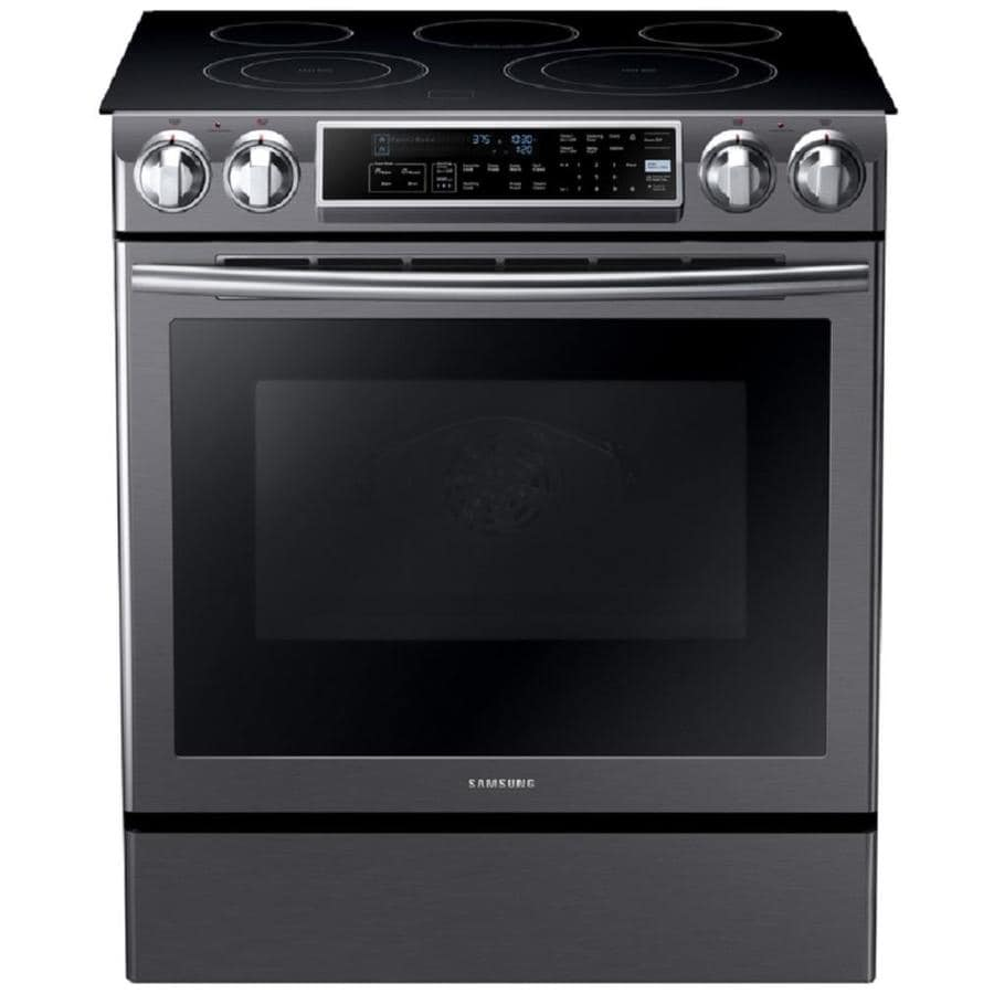 Samsung Smooth Surface 5-Element Slide-in Convection Electric Range (Black Stainless Steel) (Common: 30-in; Actual 31-in)