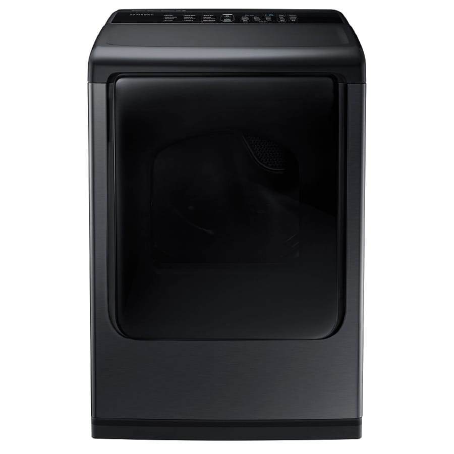 Samsung 7.4-cu ft Electric Dryer with Steam Cycle (Black Stainless Steel)