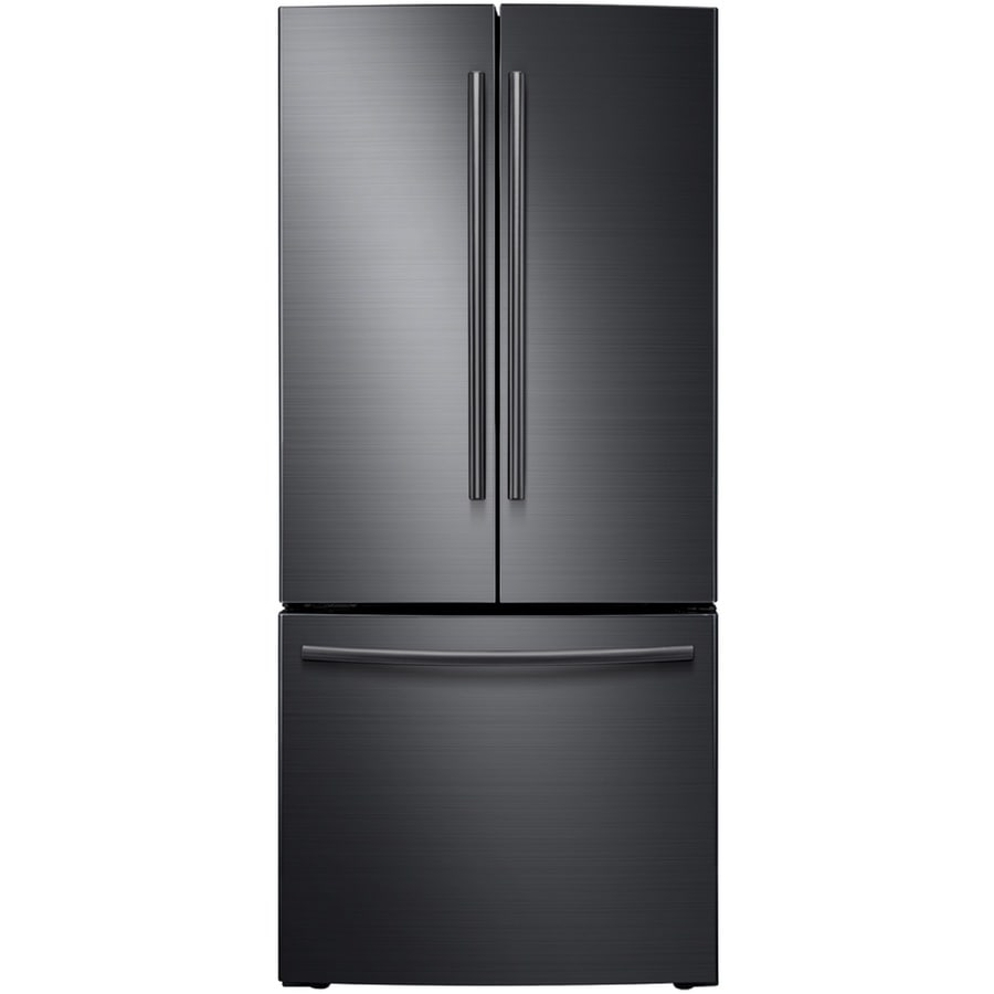 Shop samsung 21 6 cu ft french door refrigerator with for 6 ft wide french doors