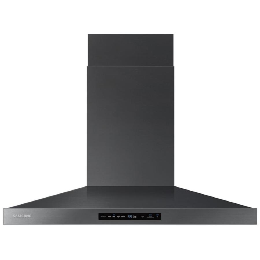 shop samsung ducted wall mounted range hood black stainless steel common 36 in actual 35. Black Bedroom Furniture Sets. Home Design Ideas