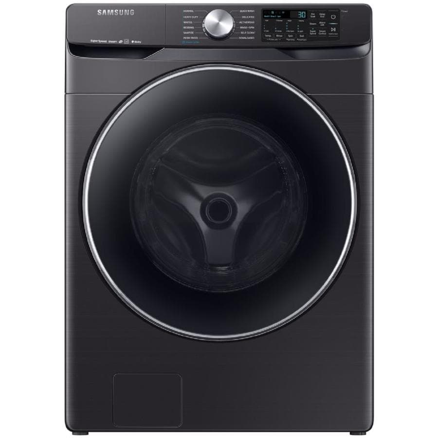 Samsung Smart 4 5 Cu Ft High Efficiency Stackable Steam Cycle Front Load Washer Fingerprint Resistant Black Stainless Steel Energy Star In The Front Load Washers Department At Lowes Com
